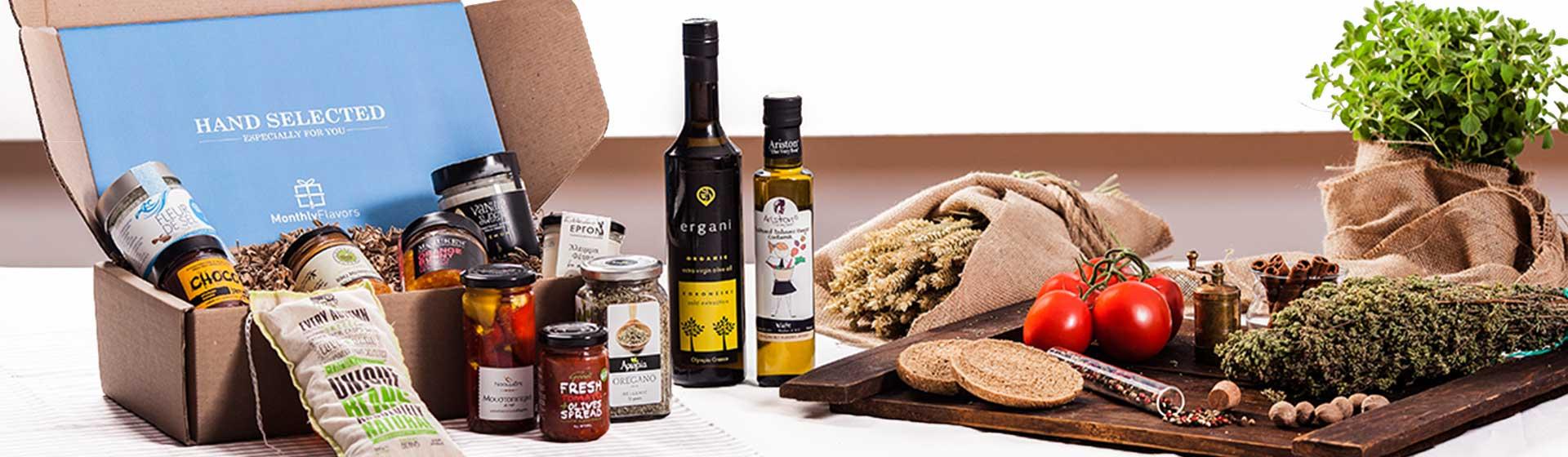 Greece in a box. Fleur de sel, orange marmalade, olive oil