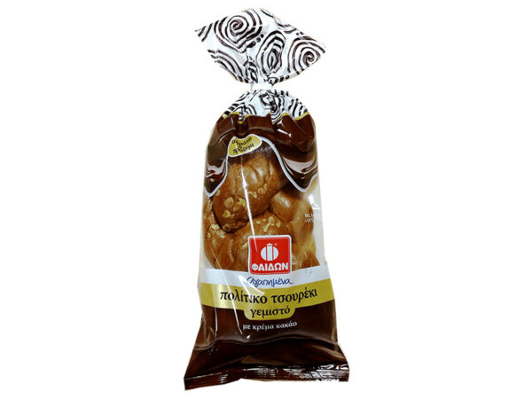 Tsoureki filled with cocoa cream