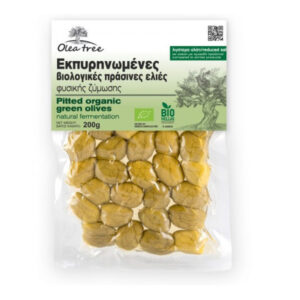 Organic green pitted olives 200g - Olea Tree